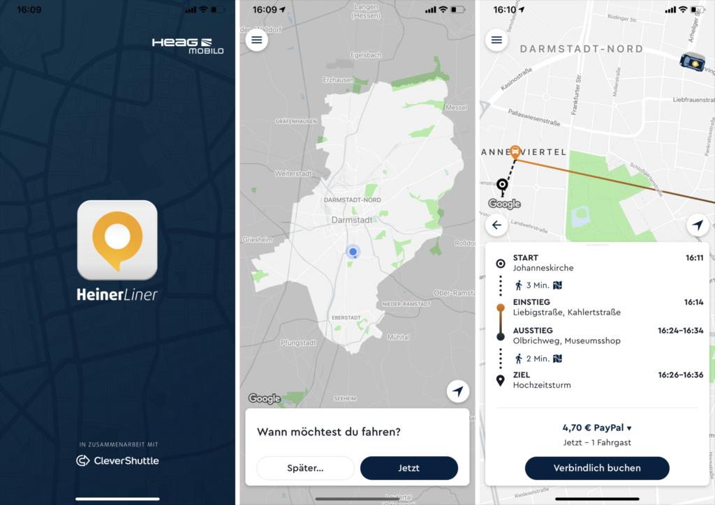 How To Heinerliner Darmstadt: Screenshots aus der Buchungs-App für das On Demand Shuttle in Darmstadt